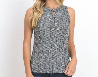 Ribbed Lace-Up Tank Top, Women's Top