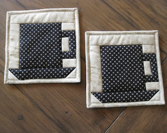 CLOSE OUT SALE Set of Two Quilted Mug Rugs / Handmade Coasters