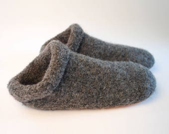 Boiled Wool Slippers // Socks with soles made from Felted Merino Wool // Dark Grey // Gray