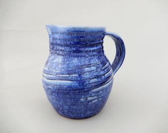 Handmade Ceramic Pottery Pitcher- Blue Water Pitcher
