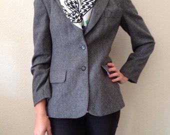 1960's Union Made Evan Picone Gray Wool Jacket/Blazer/Coat--Size Small