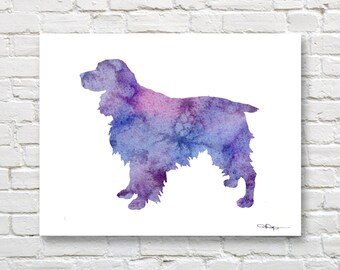 Springer Spaniel Art Print - Abstract Watercolor Painting - Wall Decor