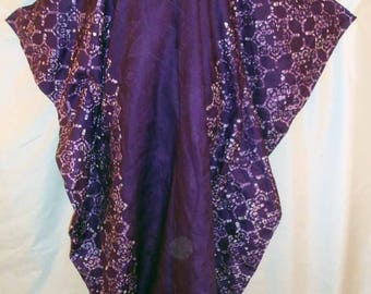 Purple and White Purple Tye Dye Mystical Costume Caftan with Geometric Print and Mini Eyelet Designs