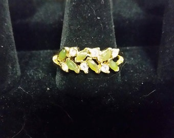 Goldtone Green Stone Ring