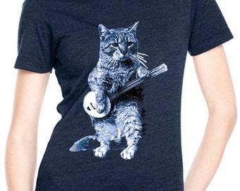 cat shirt - banjo shirt - cat tshirt - cat gifts - cat lover gift - cat lady - cat lover - music gift - womens tshirts -BANJO CAT- crew neck