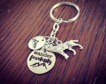 Wander Fearlessly Wolf Keychain