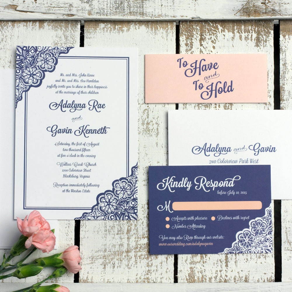 Wedding Invite Sample: Lace Wedding Invitation SAMPLE SET Elegant Wedding Invitation