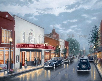 Franklin Theatre Print,  Canvas Giclee, Wm. Raymon Troup 14x18 Print