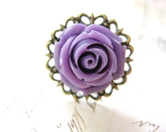 Purple Rose Filigree Ring - Adjustable in Antique Bronze Finish with Resin Cabochon