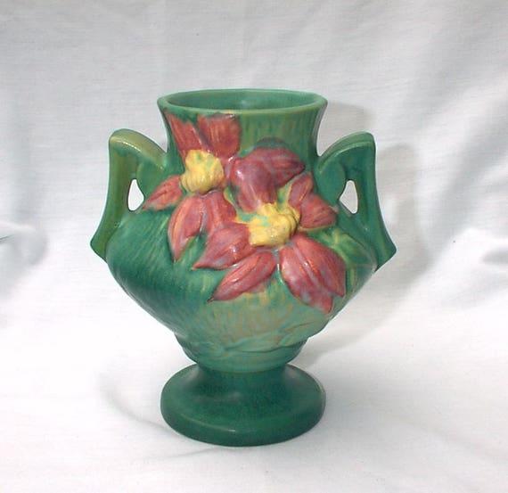 Roseville 1940s Vase Green Clematis 188 6