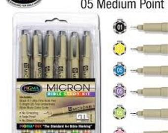 Micron Bible Study Kit 6 pen set