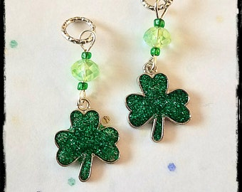 Hearing Aid Charms:  Glittery Shamrocks with Glass Accent Beads!  Also available as a matching mother daughter set!