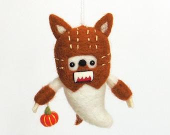 Halloween Needle felted figurine :  Werewolf felt ghost ornament with an orange pumpkin, wolfman, cute horror movie character
