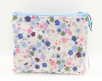 Japanese Floral Pattern Pouch, Small Zippered Pouch, Floral Makeup Pouch, Mini Zipper Pouch, Padded Zipper Pouch,Asian design fabric