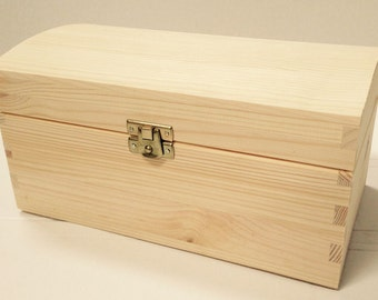 Unpainted  Wooden Box with Clasps - 23x 13x11cm - keepsake storage case memory box jewellery box