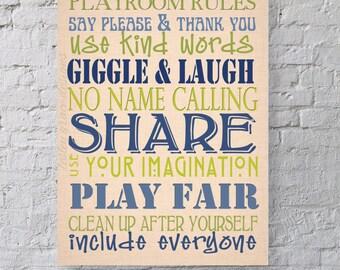 Playroom Rules... Typography Art, 11x14, 8x10