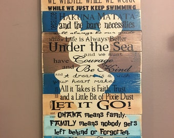 Disney Quotes Family Rules Planked Wood Sign Teal Browns