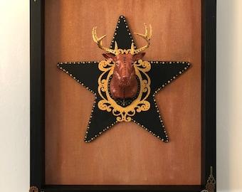 Faux deer head wall decor framed deer head faux taxidermy metallics black