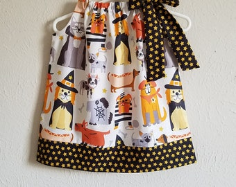 Halloween Dresses Pillowcase Dress with Dogs in Costumes Fall Dress Dog Dress Halloween Clothes for Halloween Outfit with Puppy Dogs