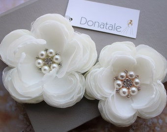Bridal Headpiece,Light  Ivory Flower Pearl Crystal  Hair Clip ,Wedding  hair Flowers, Flower Fascinator , Bridal Hair Flower -CHERYL
