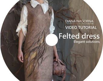 Tutorial,felted dress, video tutorial, felt dress pattern,instant download,elegant dress