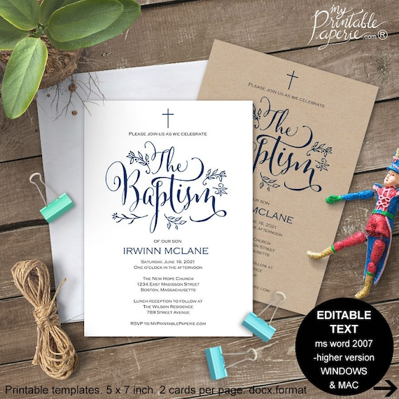 Boy Baptism invitations Baptism invitation printable Baptism