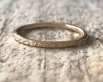 Raw Silk Texture Gold Ring, Gold Fill Ring, Skinny Ring Band, Gold Stacking Ring, Stackable Ring, Bohemian Ring, Bohemian Jewelry