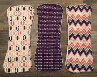 Set of three baby girl burp cloths: pink and purple
