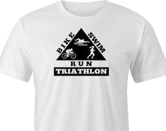 Swim Bike Run logo Triathlon print T shirt, Triathlon logo print T shirt, Triathlon Swim Bike Run t shirt, Triathlon t shirt.
