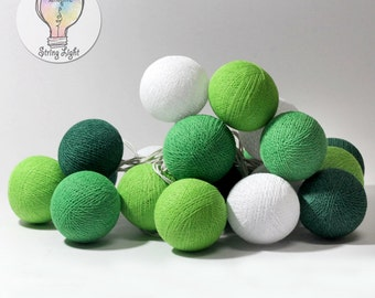 Pastel sweet handmade cotton ball string fairy lights home party patio wedding spa decor Green Tone Color