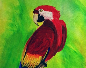 Parrot Art - Acrylic Painting - Clearance