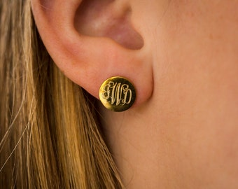 Gold Plated Monogram Stud Earrings Personalized Jewelry for Bridesmaids Presents Girls