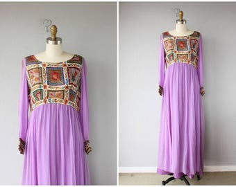 1970s Maxi Dress | 70s Maxi Dress | 1970s Silk Caftan | 70s Caftan | 1970s Bohemian Kaftan Dress - small/medium