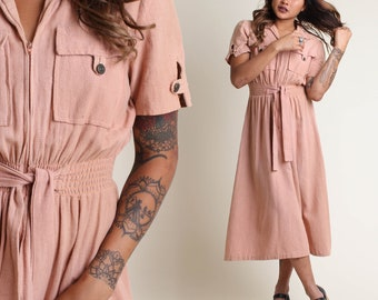 vintage 70s DUSTY ROSE pocket SAFARI secretary dress size S / linen peach boho day shirt dress 19709s extra small or small