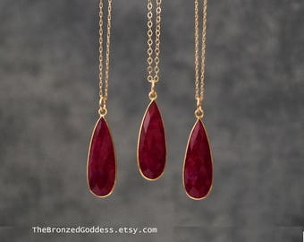 Rich Ruby Pendant in Gold Red Ruby Ruby Necklace July Birthstone Gold Ruby Necklace for Her  Long Gold Necklace