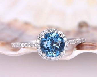 Topaz Engagement Ring 6.5mm Round Cut Topaz Ring London Blue Natural Stone Thin Diamond Wedding Band 14k White Gold Stackable Ring Custom
