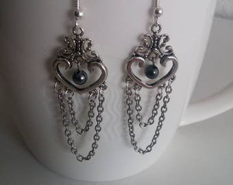 Grey pearl and chain earrings