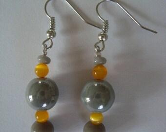 Earrings, grey and yellow