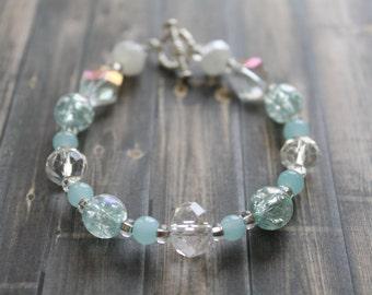 Beaded Bracelet / Aqua Glass Beads / Handmade Jewelry