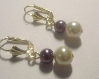 Ivory Plum Pearls on Gold Tone Leverback Ear wires