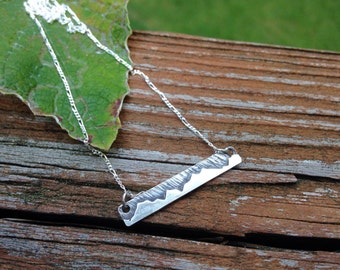 Mountain Bar Necklace, Sterling Silver, Hand Crafted, Each one Different