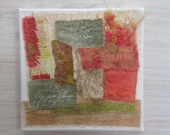 Colourful mixed media textile box canvas wall art