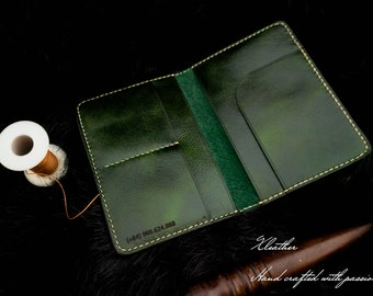 Handmade passport cover/leather passport holder/custom passport wallet/gift for friend/name and text engraved/green waxed passport cover