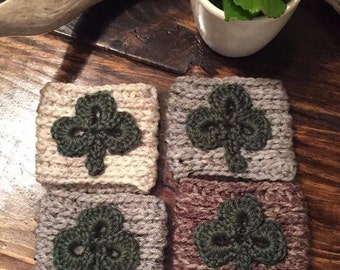 Shamrock Crochet Coffee Sleeve / Trendy Clover Reusable Coffee Jacket / St. Patrick's Day Beverage Insulator