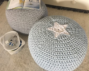 Pale Baby Blue Floor Pouf with Star, Round Ottoman Footstool, Knit Pouf Seating, Child Floor Pillow, Large Pouffe, Bean Bag Chair