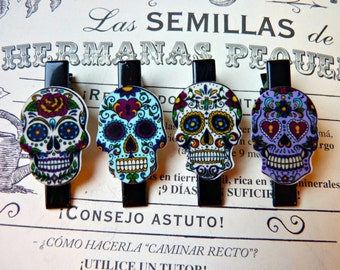 Day of the Dead Mexican Skull Hair Clips