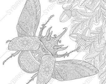 Rhinoceros Beetle. 2 Coloring Pages. Animal coloring book pages for Adults. Instant Download Print