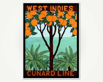 West Indies Travel Poster Print - Vintage Cunard Line Advertising Poster Art