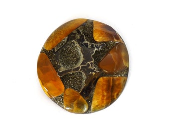 Fossil Ammonite with Nautral Pyrite Druzy Designer Cabochon Gemstone 50.3x51.9x8.1 mm 142.0 carats Free Shipping