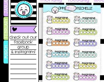 Migraine Tracker BD-154 | 12 Hand Drawn Planner Stickers